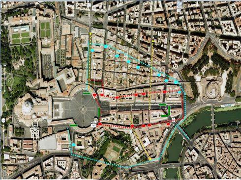 L'area di massima sicurezza intorno a San Pietro