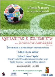 Locandina incontro di calcio 31 luglio
