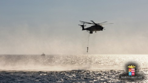 MH-53 and sonar deployed