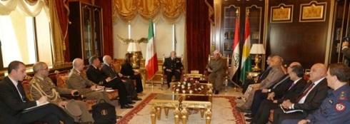 Incontro ammiraglio Binelli e il presidente del Kurdistan Barzani