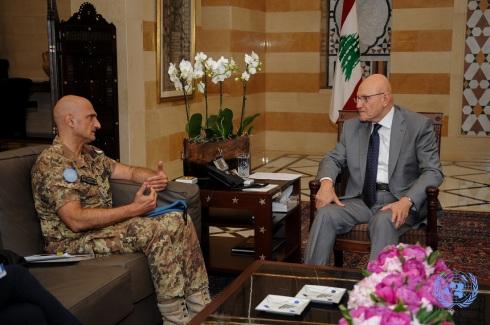 Il gen. Portolano incontra il primo ministro libanese Tamam Salam