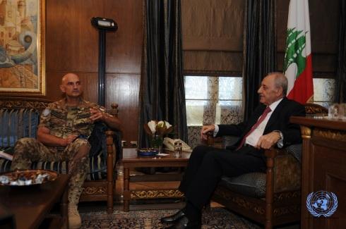 Il gen. Portolano incontra il presidente del parlamento Nabih Berri