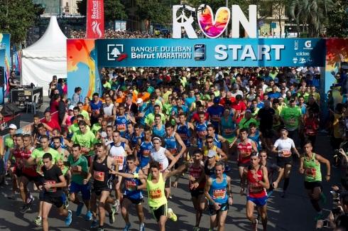 Partenza della Beirut Marathon 2015