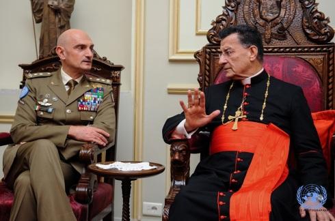 Il generale Portolano a colloquio con il patriarca maronita