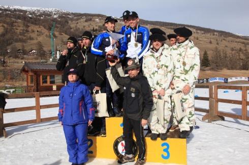 Il podio della gara di pattuglia del Trofeo dell'Amicizia