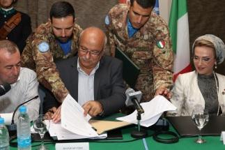Sindaco di Tiro, Ing. Dbouk, durante la firma del protocollo d'intesa