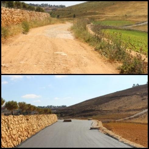 Strada prime e dopo i lavori del contingente italiano