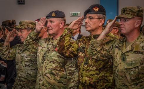 2. Da sinistra a destra il Generale Miller (USA), Tenente Generale Cripwell (UK), Generale di Corpo d'Armata (ITA) Camporeale