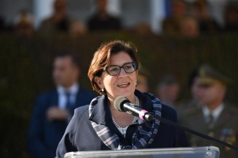 Il Ministro della DIfesa Elisabetta Trenta durante il suo discorso