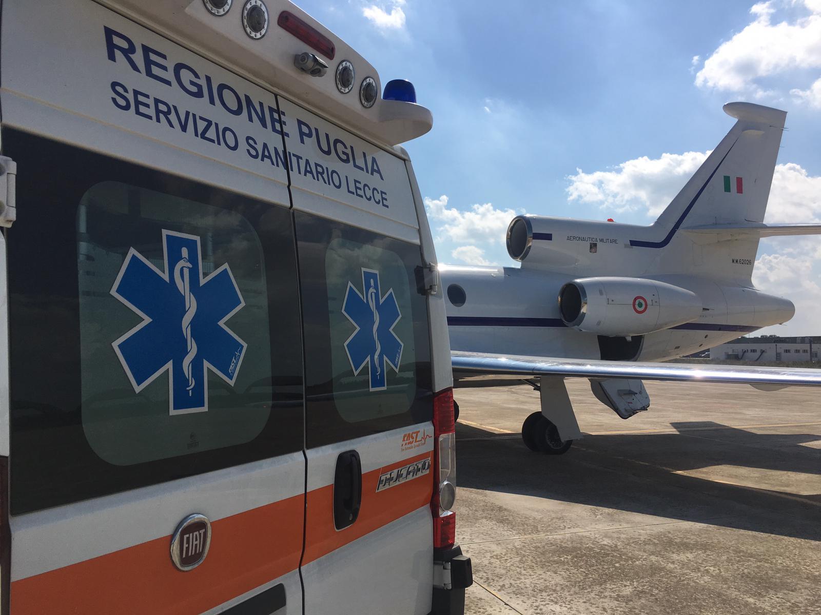 trasporto paziente Lecce-Roma_Falcon50_Aeronautica