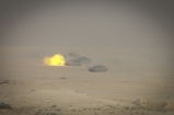 Un momento dell'esercitazione a fuoco con carri Ariete
