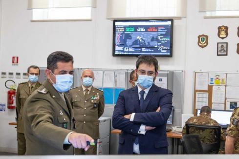 il Comandante Logistico e il SSSD nella Sala operativa logistica